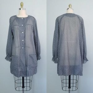 Vintage 60s swiss dot long sleeve mini dress